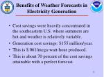 benefits of weather forecasts in electricity generation