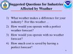 suggested questions for industries affected by weather