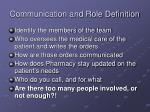 communication and role definition