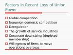 factors in recent loss of union power