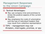 management responses to the union campaign