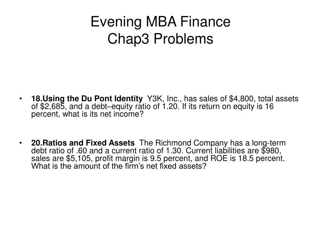 evening mba finance chap3 problems l.