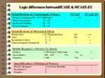 logic differences between mcase mcase es