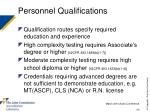 personnel qualifications50