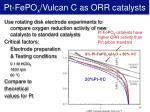 pt fepo x vulcan c as orr catalysts