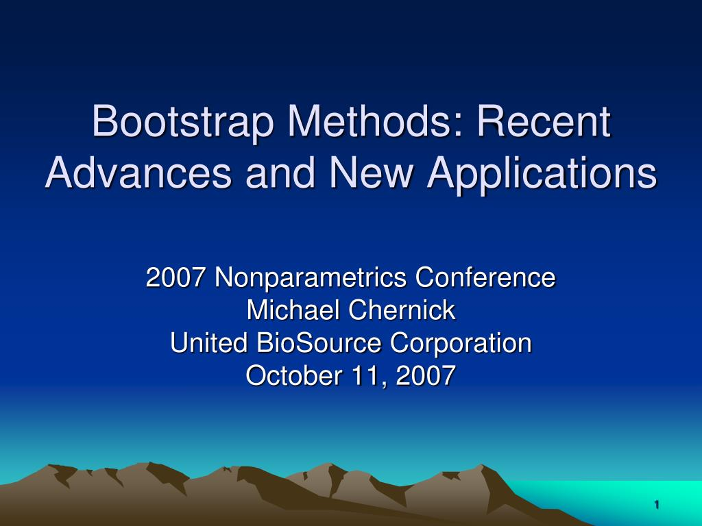 bootstrap methods recent advances and new applications l.