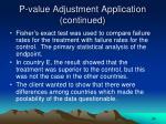 p value adjustment application continued24