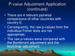 p value adjustment application continued26