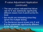 p value adjustment application continued28