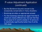 p value adjustment application continued29