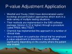 p value adjustment application
