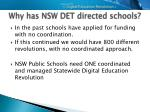 why has nsw det directed schools