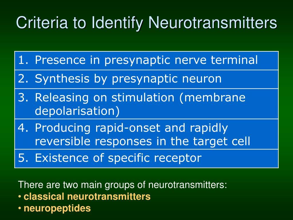 Criteria to Identify Neurotransmitters