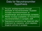data for neurotransmitter hypothesis