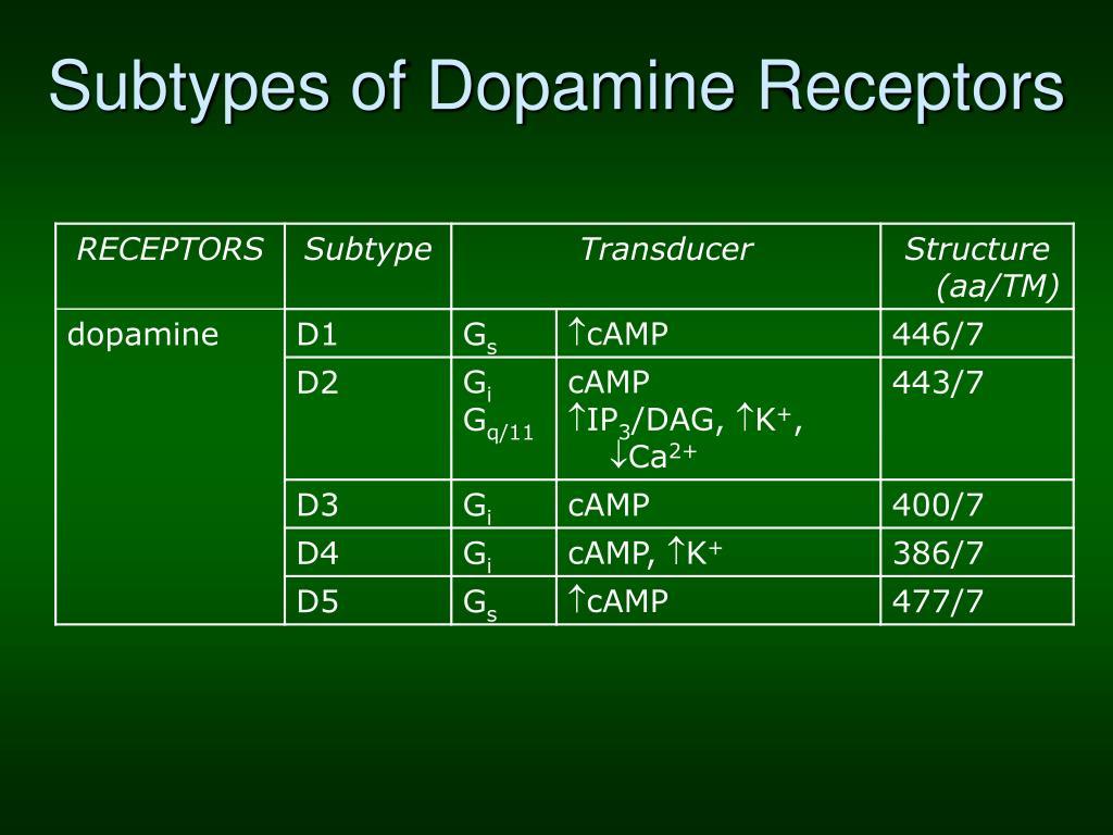 Subtypes of Dopamine Receptors