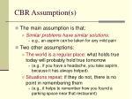 cbr assumption s
