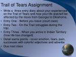 trail of tears assignment