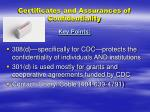 certificates and assurances of confidentiality