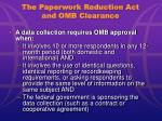 the paperwork reduction act and omb clearance