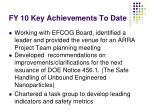 fy 10 key achievements to date