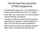 overall learning outcomes of ssc programme
