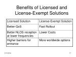 benefits of licensed and license exempt solutions