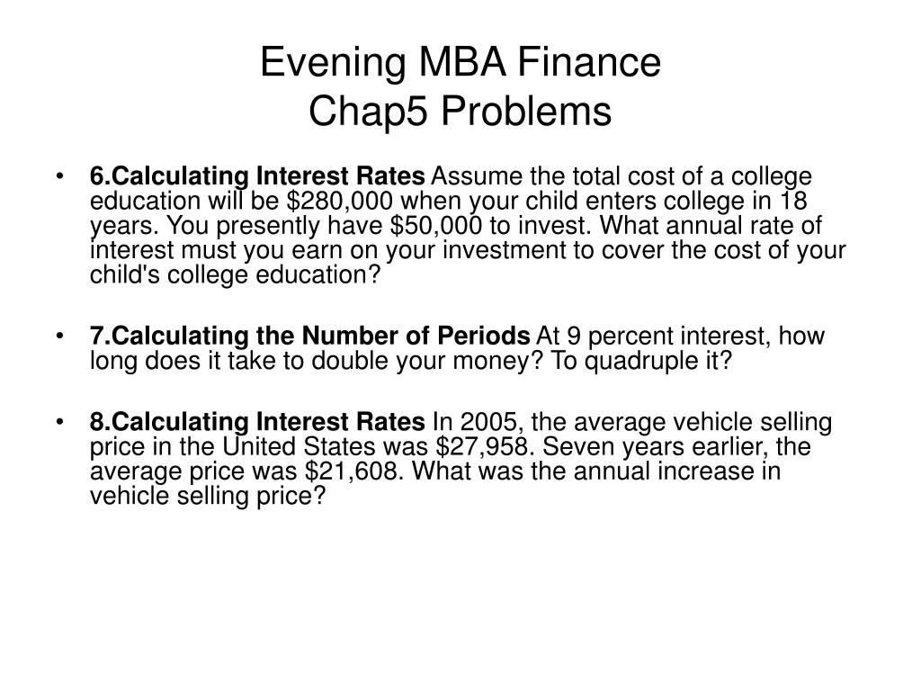 evening mba finance chap5 problems l.