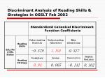 discriminant analysis of reading skills strategies in osslt feb 2002
