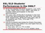 esl eld students performances in the osslt