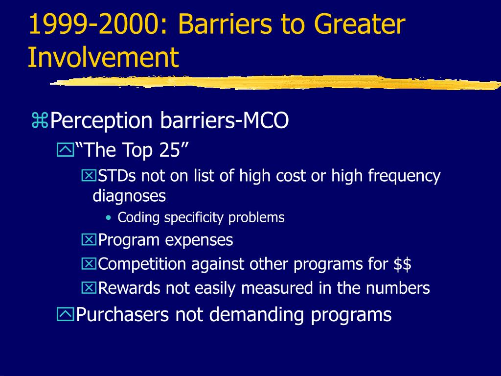 1999-2000: Barriers to Greater Involvement