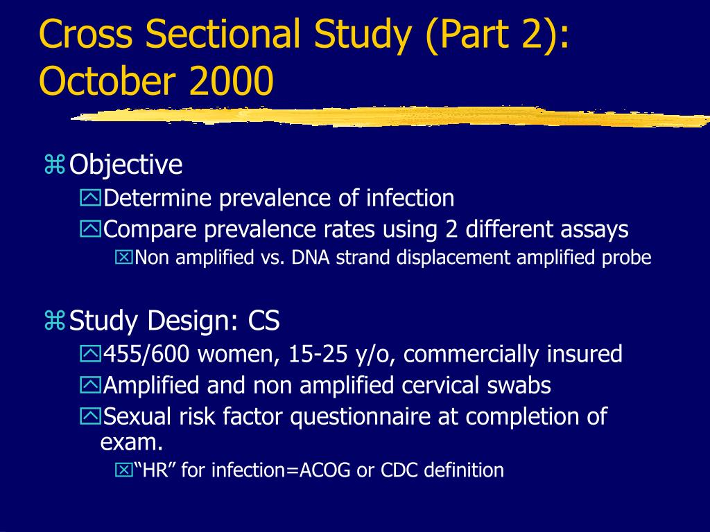Cross Sectional Study (Part 2):