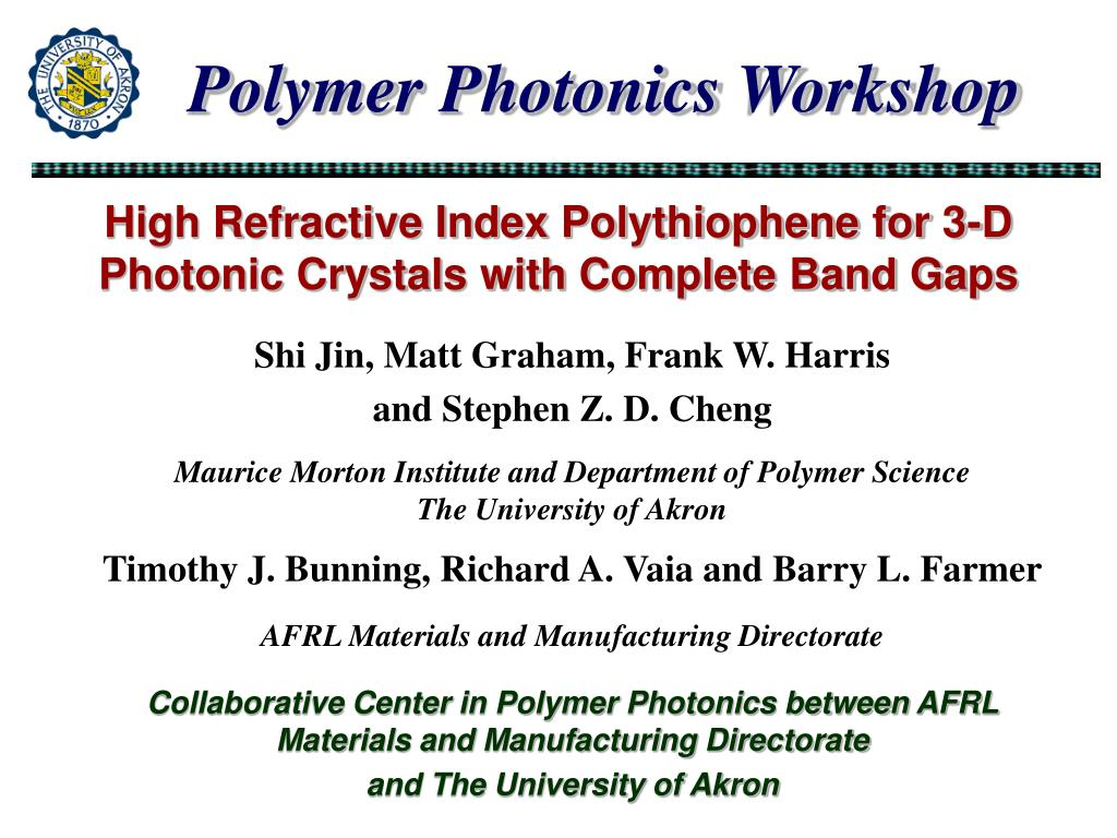 high refractive index polythiophene for 3 d photonic crystals with complete band gaps l.