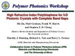 high refractive index polythiophene for 3 d photonic crystals with complete band gaps