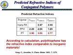 predicted refractive indices of conjugated polymers
