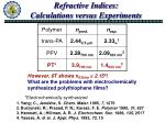 refractive indices calculations versus experiments