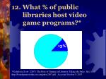 12 what of public libraries host video game programs