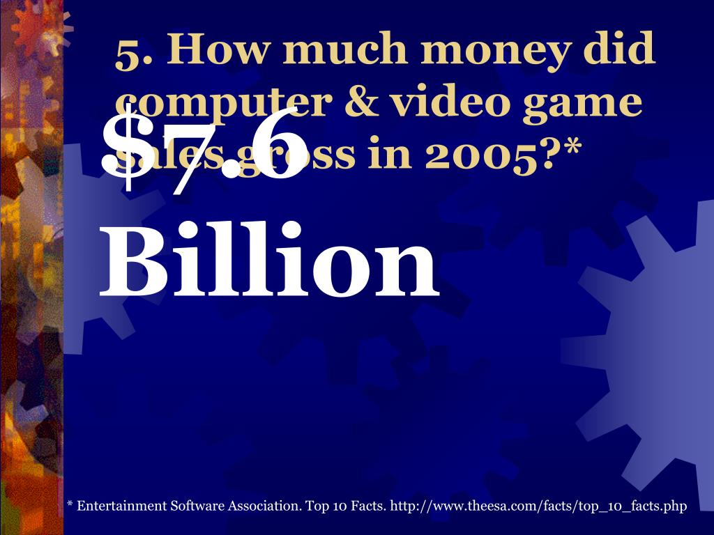 5. How much money did computer & video game sales gross in 2005?*