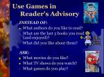use games in reader s advisory