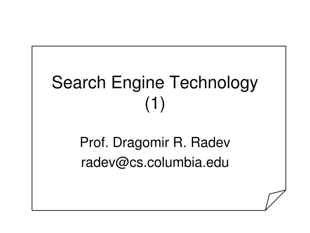 search engine technology 1 l.