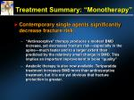 treatment summary monotherapy
