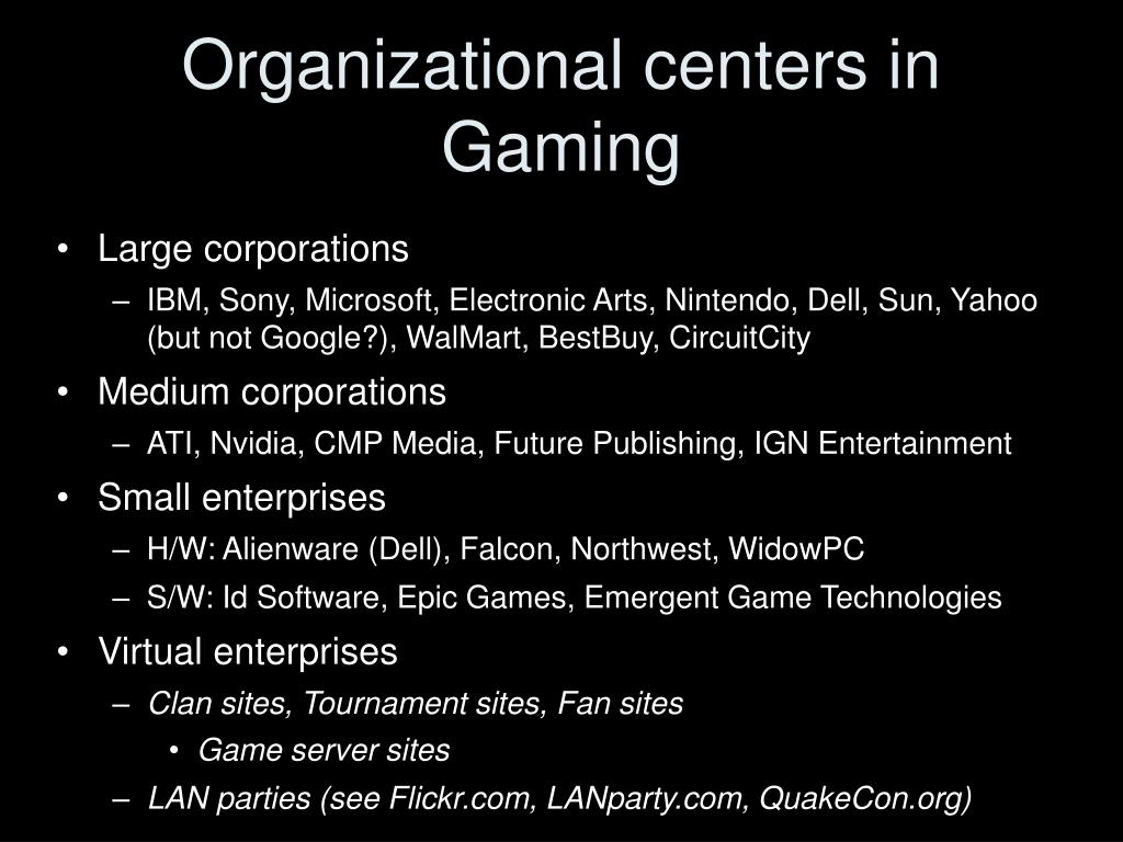 Organizational centers in Gaming