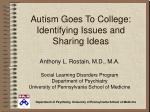 autism goes to college identifying issues and sharing ideas
