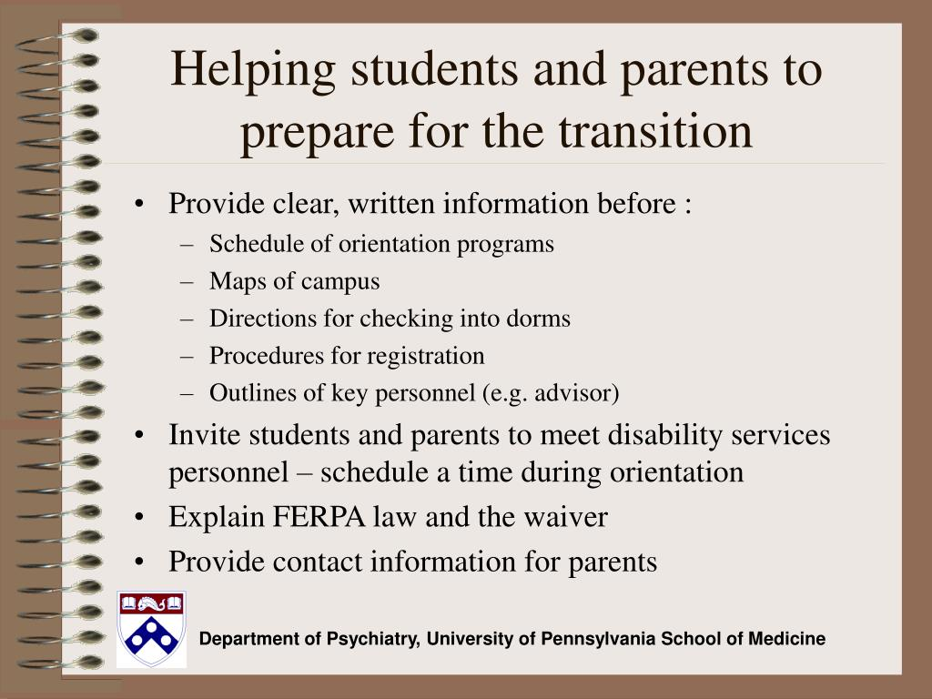 Helping students and parents to prepare for the transition