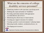 what are the concerns of college disability services personnel