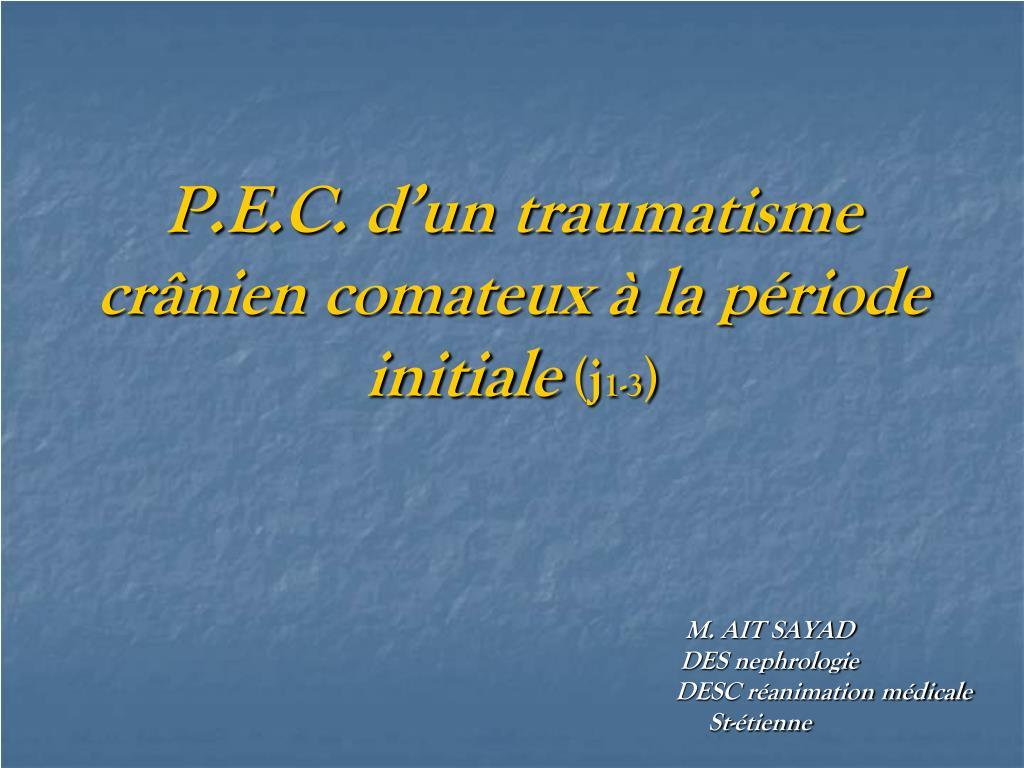 p e c d un traumatisme cr nien comateux la p riode initiale j 1 3 l.