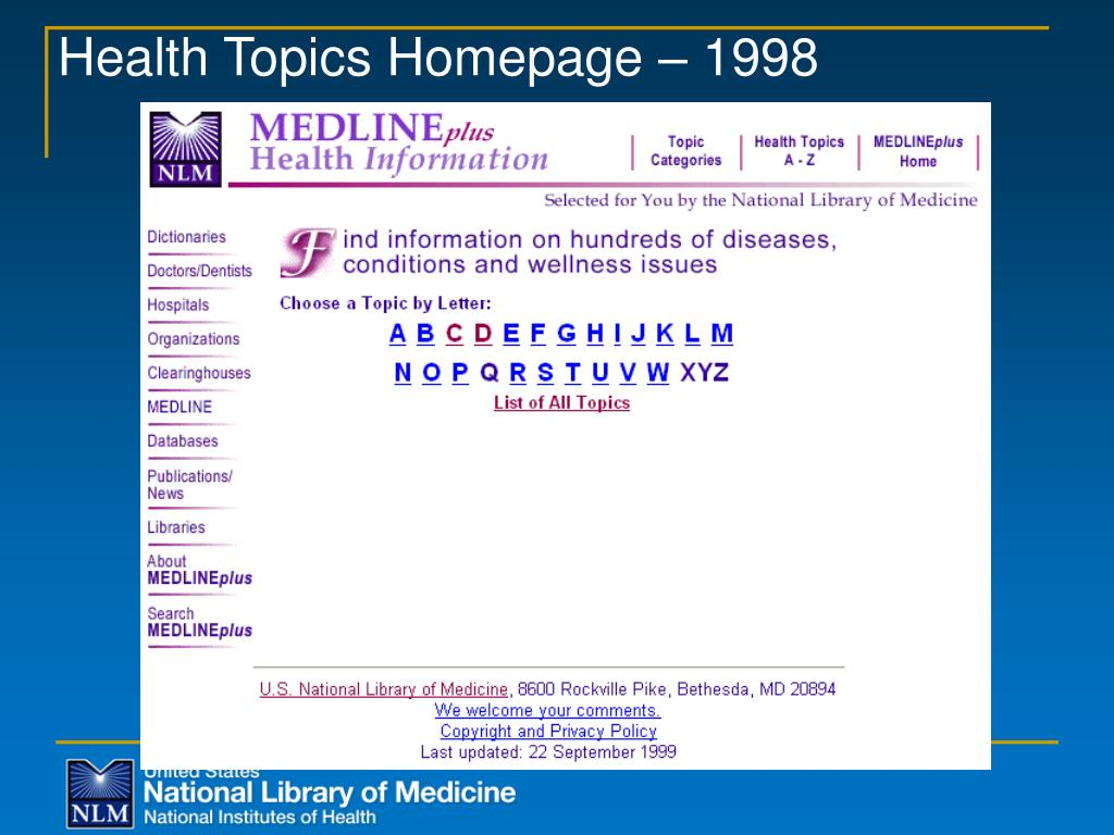 Health Topics Homepage – 1998
