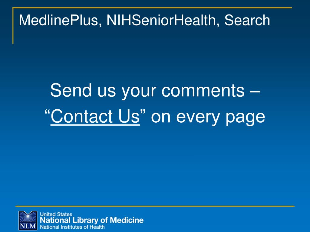 MedlinePlus, NIHSeniorHealth, Search