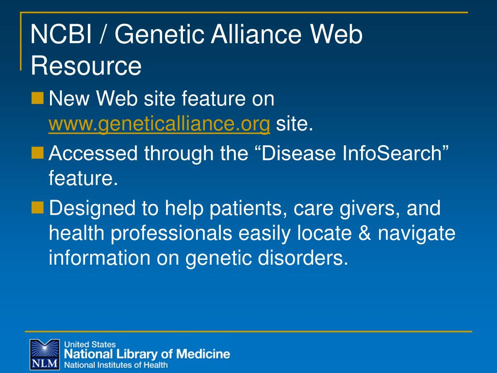 NCBI / Genetic Alliance Web Resource