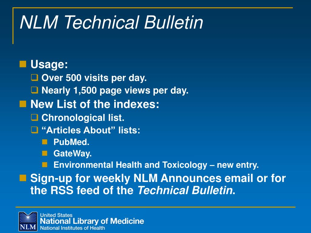 NLM Technical Bulletin