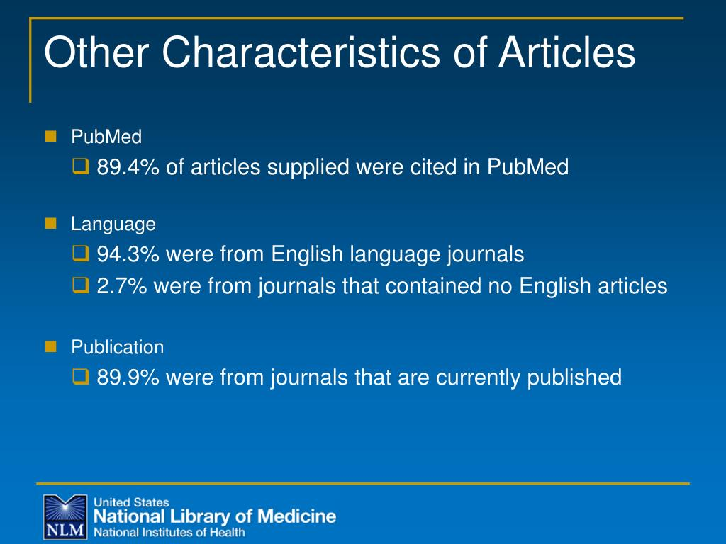 Other Characteristics of Articles
